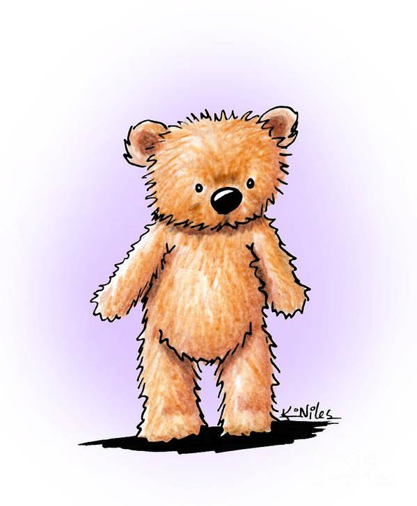 Bear Art Print featuring the drawing Teddy Bear by Kim Niles