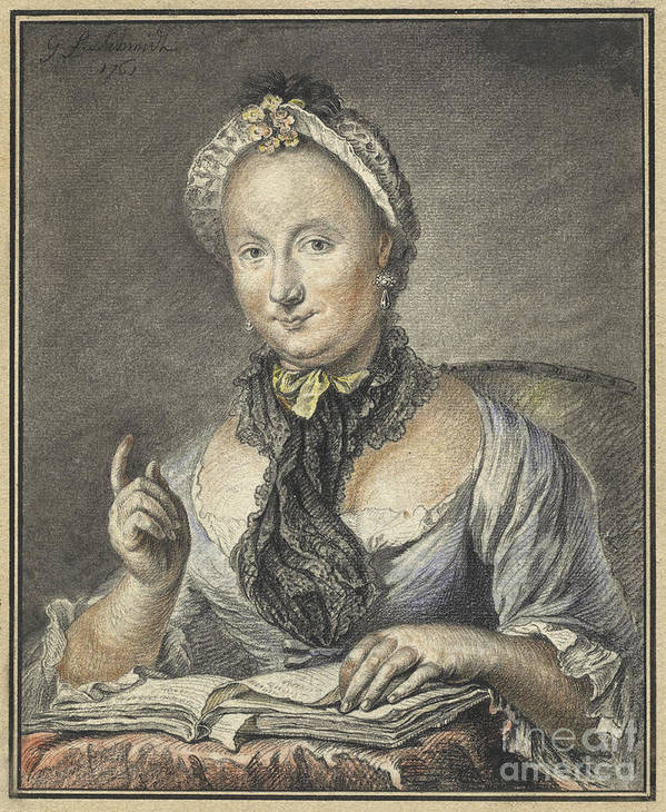 Art Print featuring the drawing The Artist's Wife With A Book by Georg Friedrich Schmidt