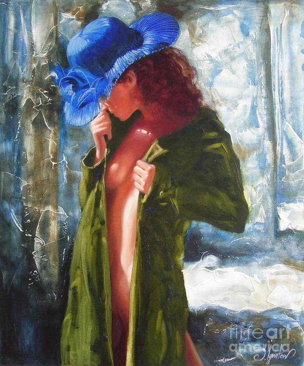 Art Art Print featuring the painting The Blue Hat by Sergey Ignatenko