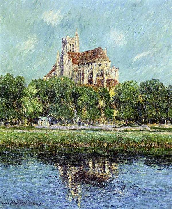 The Cathedral At Auxerre Art Print featuring the painting The Cathedral At Auxerre by Gustave Loiseau