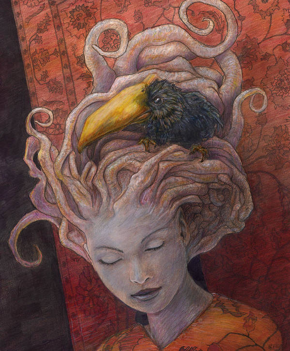 Woman Art Print featuring the painting The Density Of The Bulging Nerve by Ethan Harris