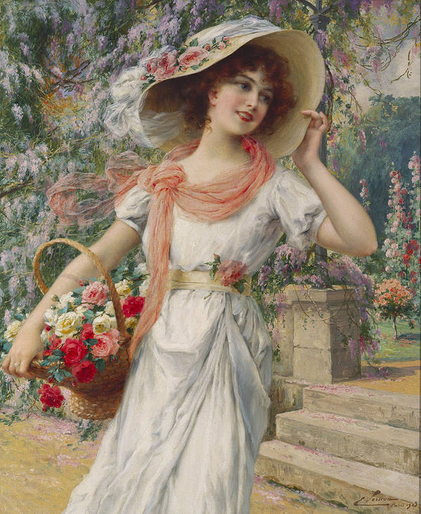 The Flower Girl (oil On Canvas) By Emile Vernon (1872-1919) Flower; Girl; Female; Three-quarter Length; Standing; Bonnet; Hat; Flowers; Selling; Vendor; Basket; Smiling; Carefree; Pretty Art Print featuring the painting The Flower Girl by Emile Vernon