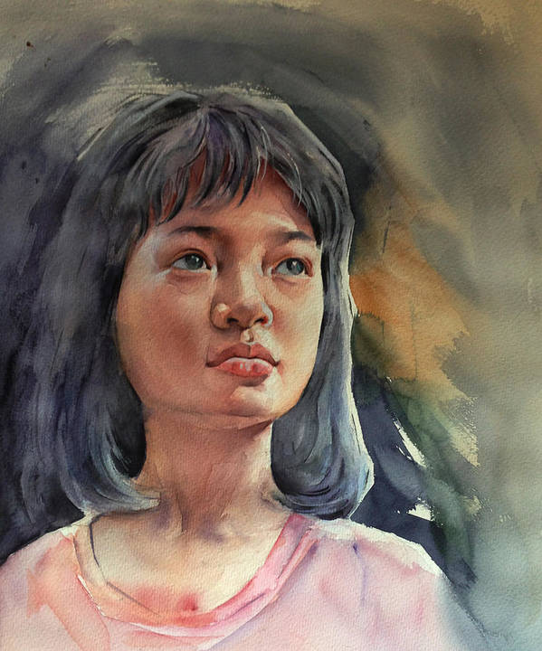 Portrait Art Print featuring the painting The Girl by Tuan Nguyen