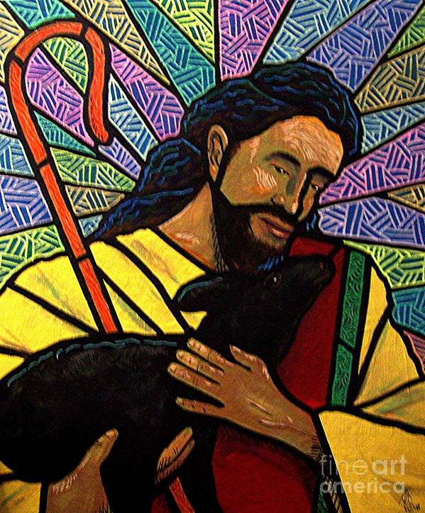 Jesus Art Print featuring the painting The Good Shepherd - Practice Painting One by Jim Harris