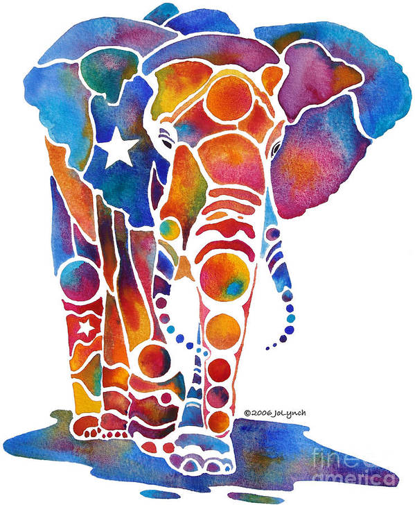 Elephant Art Print featuring the painting The Most Whimsical Elephant by Jo Lynch