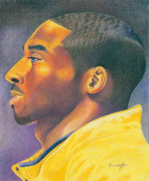 Lakers Art Print featuring the drawing The Mvp by Keith Burnette