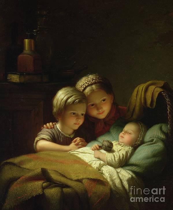 Rattle; Cradle; Braiding; Baby; Sleep; Sleeping; Sister; Tender; Tenderness; Hochet Print featuring the painting The Three Sisters by Johann Georg
