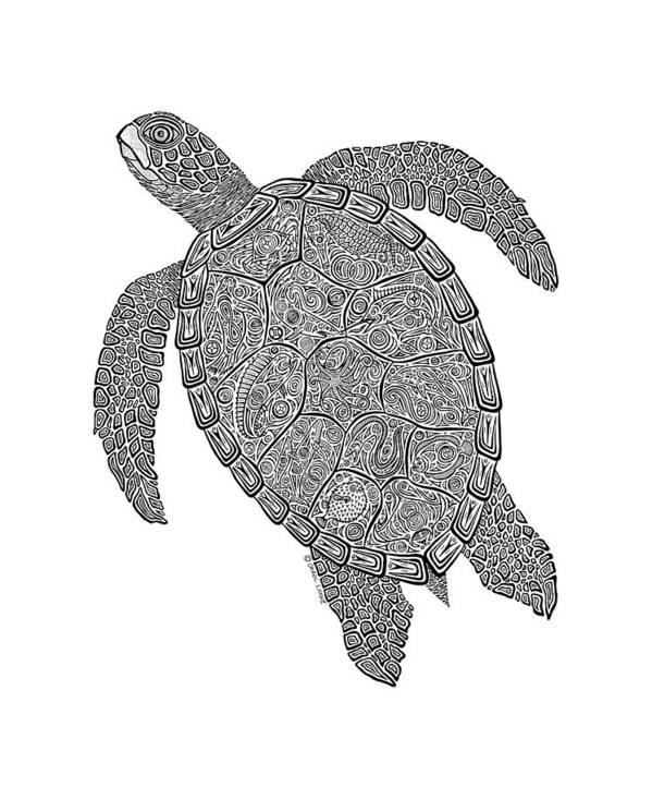 Turtle Print featuring the drawing Tribal Turtle II by Carol Lynne