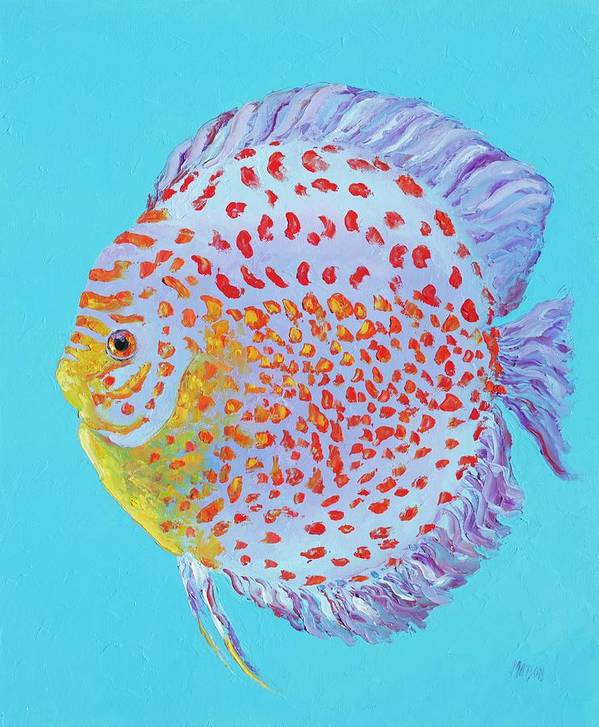 Fish Art Print featuring the painting Tropical Discus Fish With Red Spots by Jan Matson