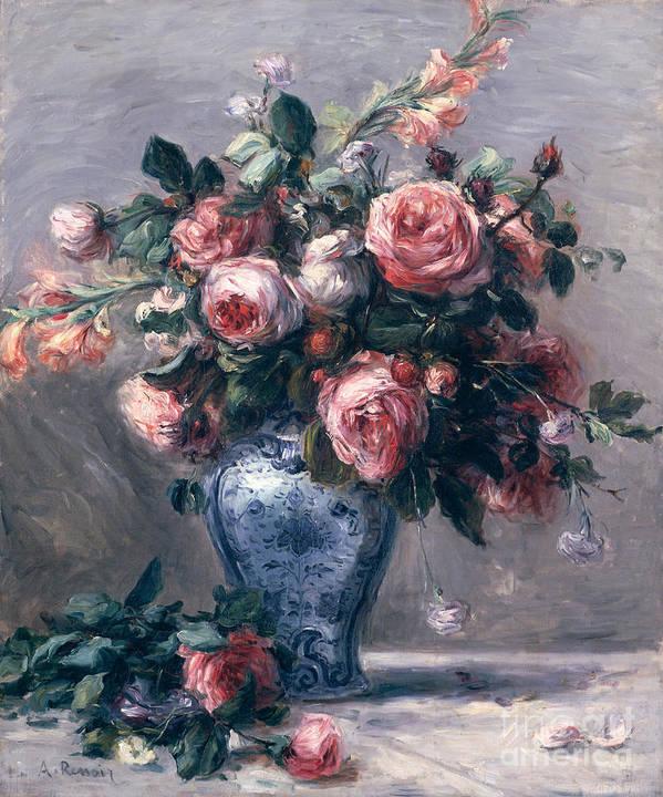 Vase Of Roses Art Print By Pierre Auguste Renoir
