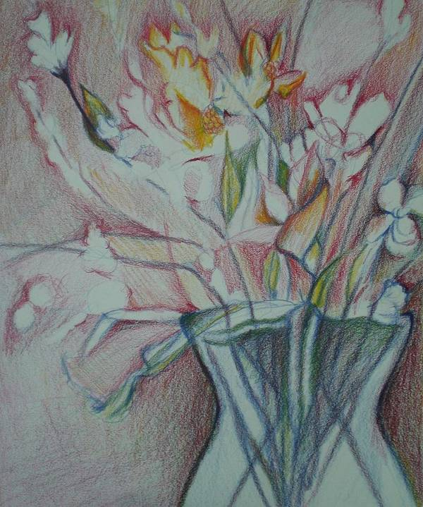 Art Print featuring the drawing Vase With Flowers by Aleksandra Buha