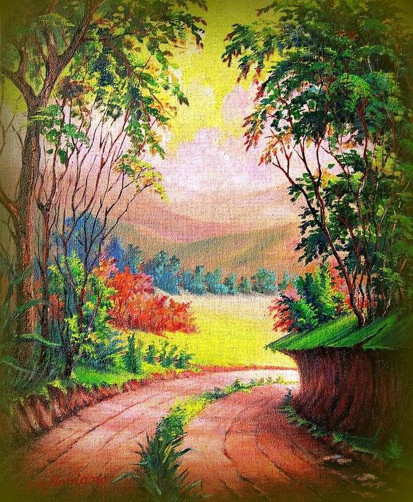 Landscape Art Print featuring the painting Verde Que Te Quero Verde by Leomariano artist BRASIL