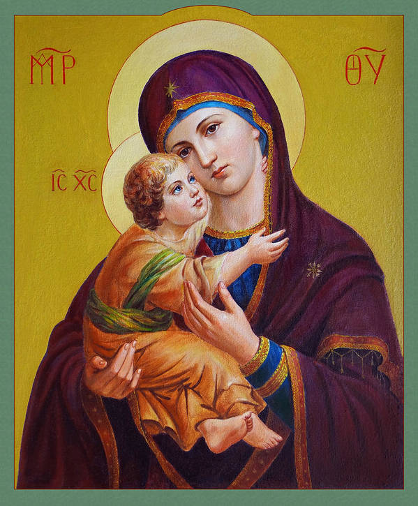 Virgin Art Print featuring the painting Virgin Of Silver Spring - Theotokos by Svitozar Nenyuk