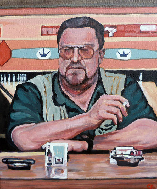 The Dude Art Print featuring the painting Walter Sobchak by Tom Roderick