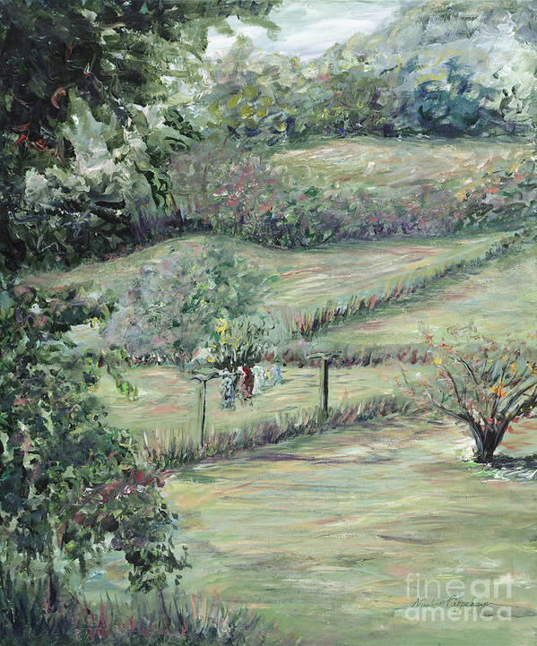 Landscape Art Print featuring the painting Washday In Provence by Nadine Rippelmeyer