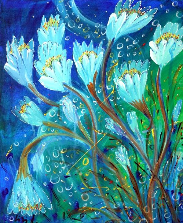 Flowers Art Print featuring the painting Water Flowers by Luiza Vizoli