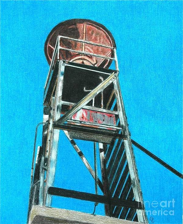 Colorado Art Print featuring the drawing Water Tower by Glenda Zuckerman
