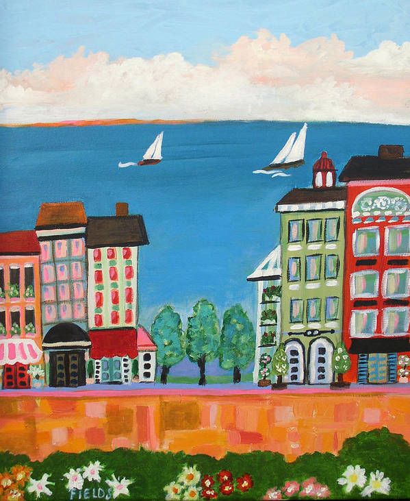 Cityscape Art Print featuring the painting Waterfront by Karen Fields