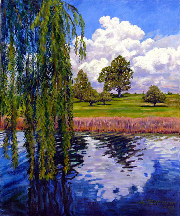 Landscape Art Print featuring the painting Weeping Willow - Brush Colorado by John Lautermilch