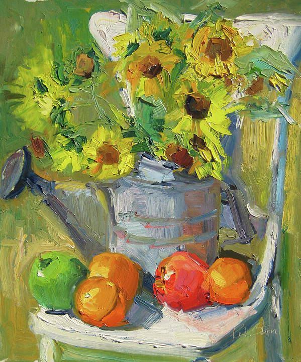 Still Life Art Print featuring the painting White Garden Chair by Paula Stern