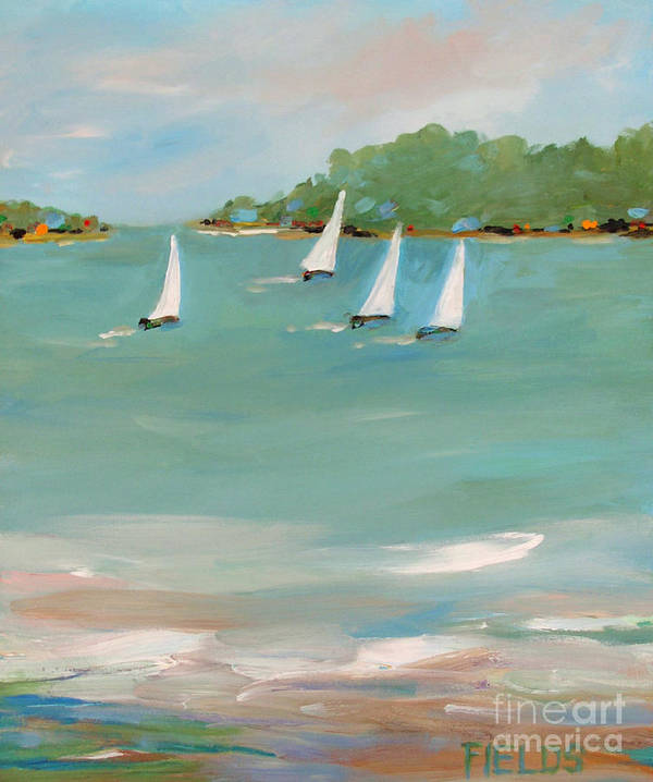 Sailboat Art Print featuring the painting Wind And Sails by Karen Fields