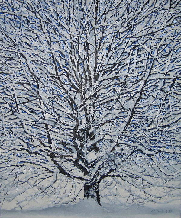 Winter Art Print featuring the painting Winter '05 by Leah Tomaino