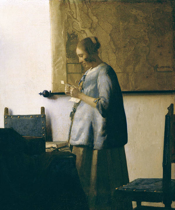 Woman Reading A Letter Print featuring the painting Woman Reading A Letter by Jan Vermeer