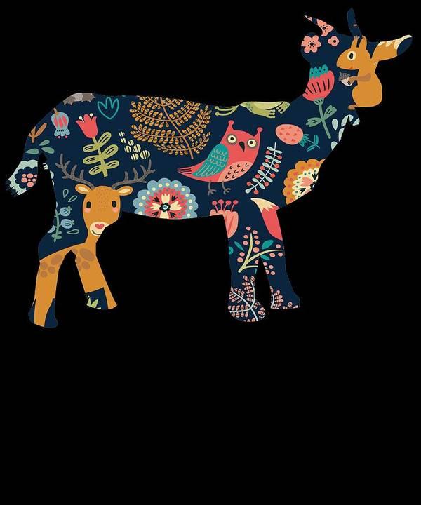 Baby-goat Art Print featuring the digital art Woodland Goat by Kaylin Watchorn