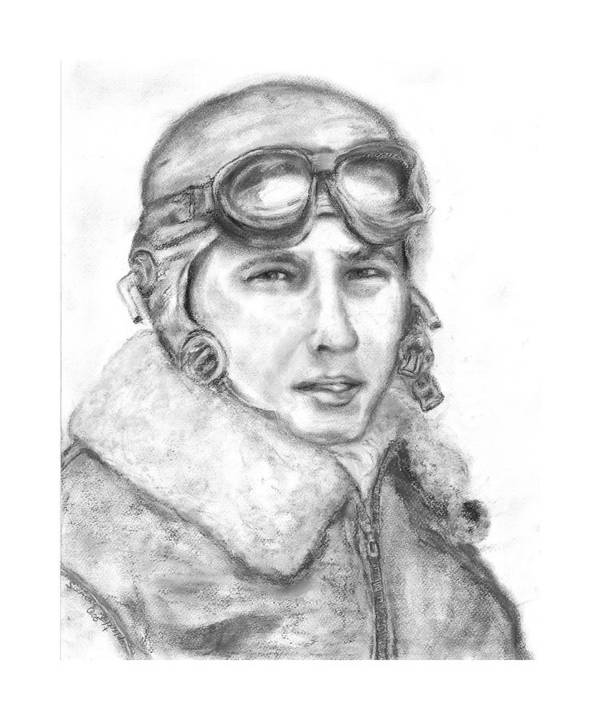 Portrait Of A World War Ii Art Print featuring the painting Wwii B17 Gunner by Suzanne Reynolds