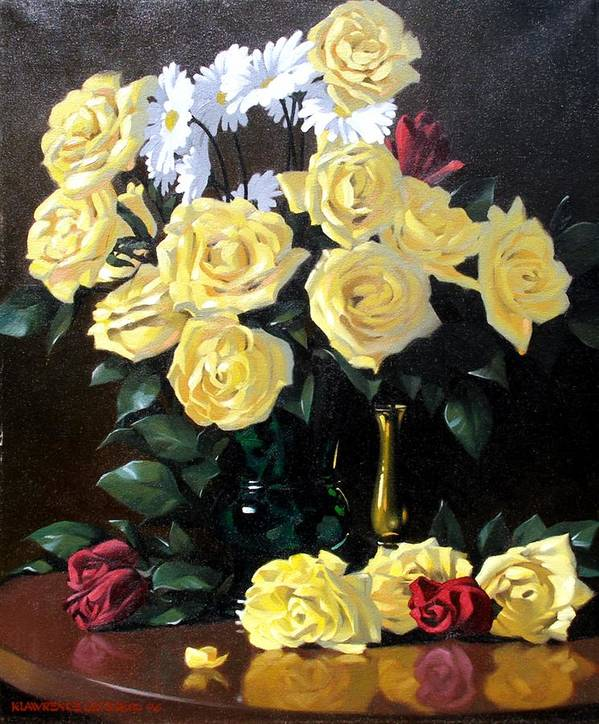 Roses Art Print featuring the painting Yellow Roses by Kevin Lawrence Leveque