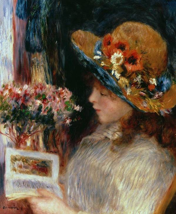 Young Girl Reading Art Print featuring the painting Young Girl Reading by Pierre Auguste Renoir