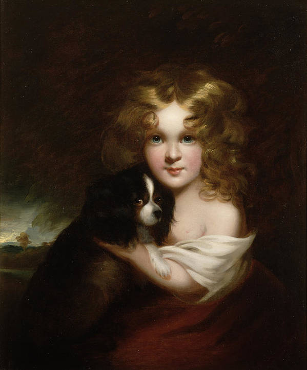 Young Art Print featuring the painting Young Girl With A Dog by Margaret Sarah Carpenter