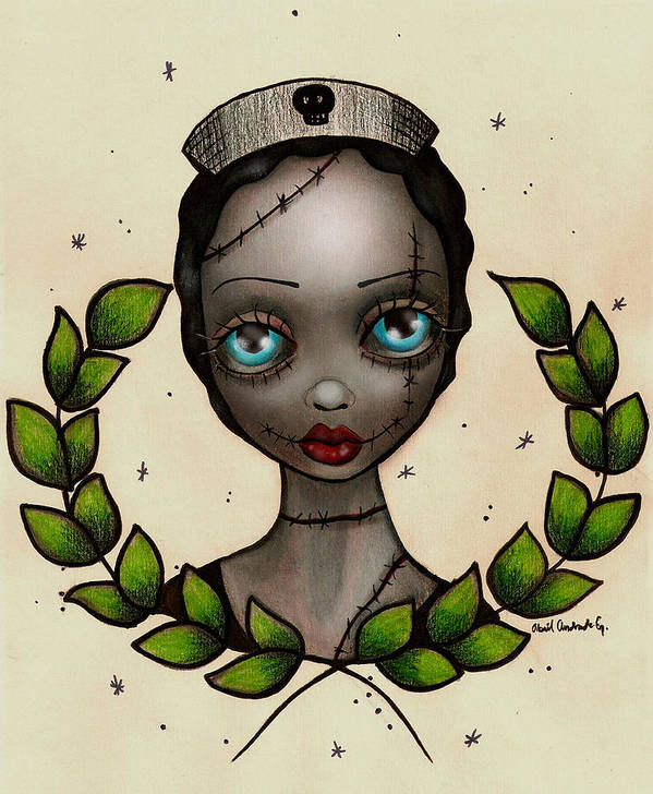 Zombie Art Print featuring the painting Zombie Nurse by Abril Andrade Griffith