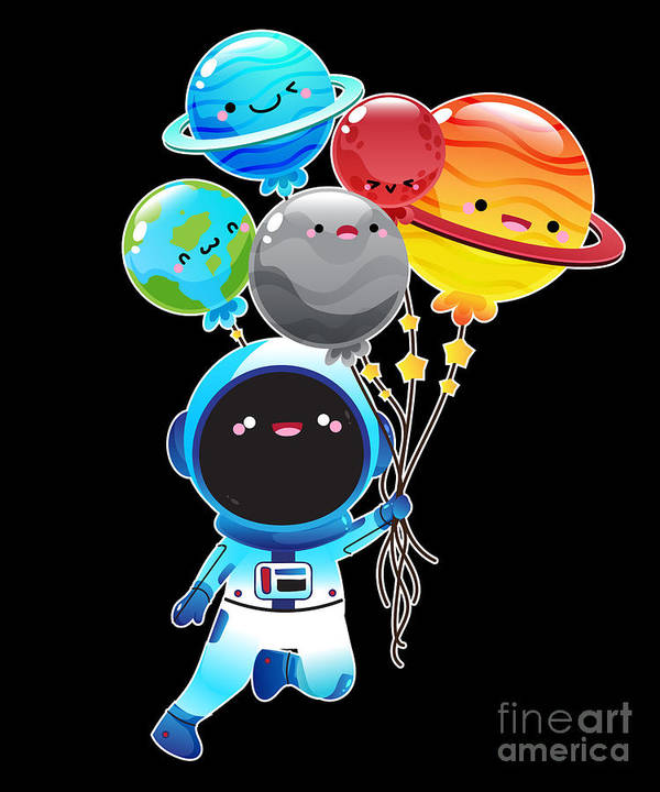 Space Art Print featuring the digital art Astronaut With Planet Balloons Outta Space by Soju And Sake