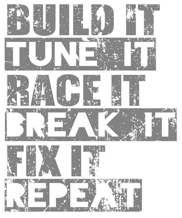Dirtbike Art Print featuring the digital art Build It Tune It Race It Break It Fix It Repeat by Passion Loft