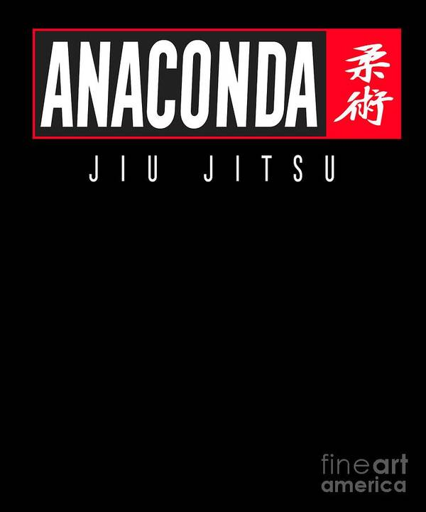 Bjj Art Print featuring the digital art Jiu Jitsu Black Belt Anaconda Light Gift Martial Arts Bjj by J P