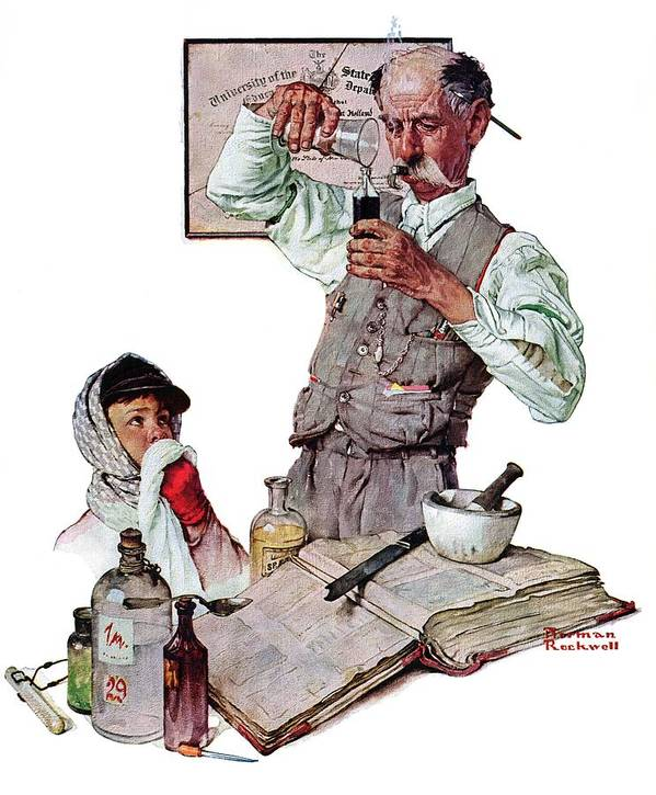 Boy Art Print featuring the drawing Pharmacist by Norman Rockwell