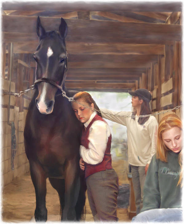 Horse Art Print featuring the painting Aisle Hug Horse Show Barn Candid Moment by Connie Moses