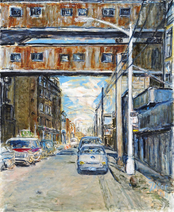 Cityscape Industrial New York Lamp Post Cars Cables Sky Art Print featuring the painting Williamsburg4 by Joan De Bot