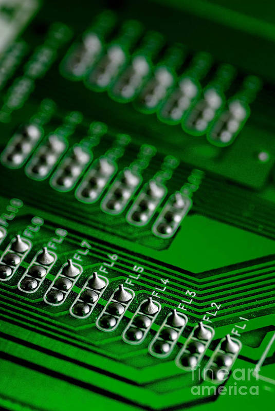 Bokeh Print featuring the photograph Circuit Board Bokeh by Amy Cicconi