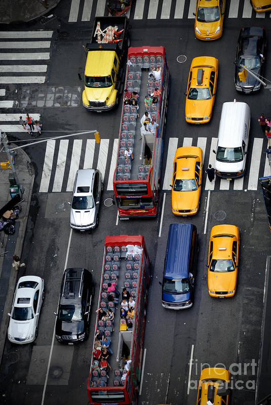 Aerial View Print featuring the photograph Aerial View Of New York City Traffic by Amy Cicconi
