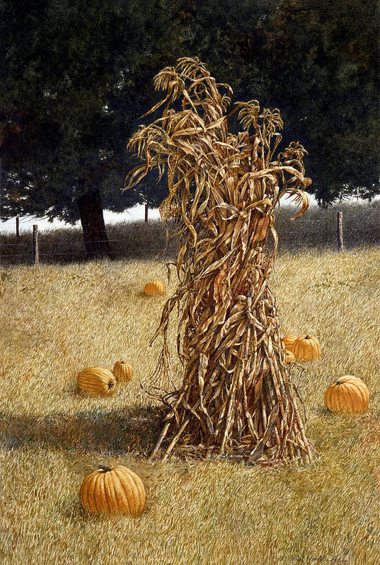 Landscape Art Print featuring the painting Halloween by Tom Wooldridge
