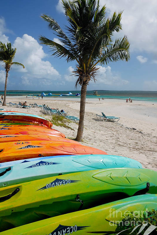 Bahamas Art Print featuring the photograph Kayaks On The Beach by Amy Cicconi