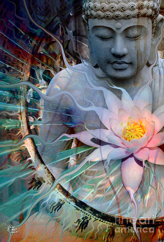 Buddha Art Print featuring the painting Living Radiance by Christopher Beikmann