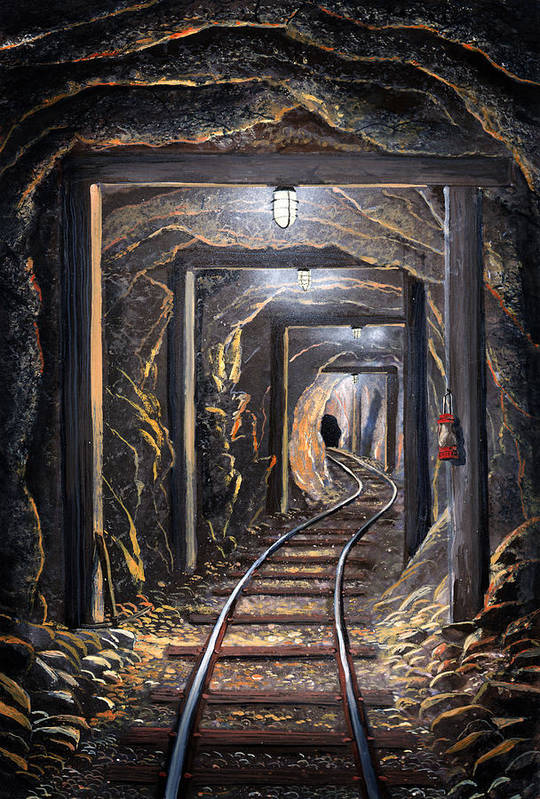 Mural Art Print featuring the painting Mine Shaft Mural by Frank Wilson