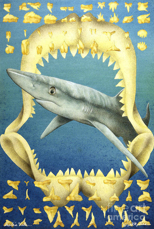 Will Bullas Art Print featuring the painting Sharks Truth... by Will Bullas