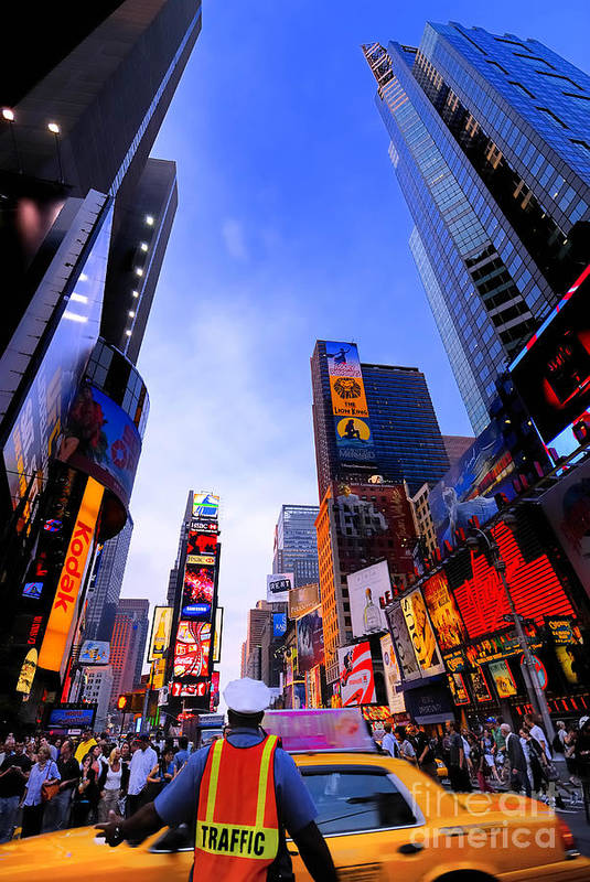 Ads Art Print featuring the photograph Traffic Cop In Times Square New York City by Amy Cicconi