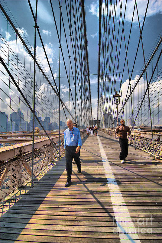 African American Art Print featuring the photograph Walkers And Joggers On The Brooklyn Bridge by Amy Cicconi