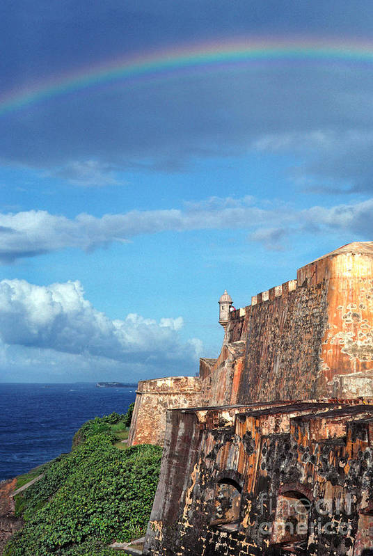 Puerto Rico Art Print featuring the photograph El Morro Fortress Rainbow by Thomas R Fletcher
