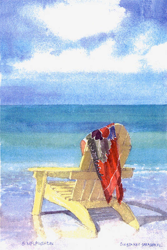 Beach Art Print featuring the painting Beach Chair by Shawn McLoughlin